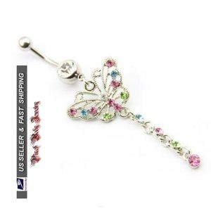 Jewelry - 3/$28 Colorful Butterfly Crystal Navel Ring